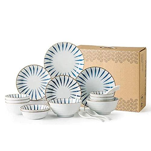 YGB Juego de Platos/Plato/Cuenco, Juegos de vajilla de cerámica de 18 Piezas, Juego de vajilla de Porcelana Pintada a Mano Vintage, Regalos de inauguración de la casa