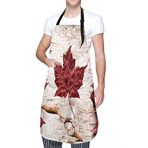 Blived Delantal de Cocina Impermeable con Bolsillos,Bandera de Canadá construida con Hojas de Arce,Ajustable Delantales Hombre Mujer Mandil Cocina para Jardinería Restaurante Barbacoa Cocinar Hornear