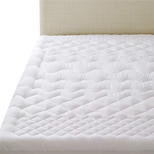Bedsure Mattress Cover Kingsize with Fitted Skirt (Up to 45cm Deep Pocket) - Breathable Washable Quilted Mattress Cover - Overfilled Mattress Protector, 150×200+38cm
