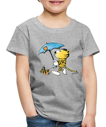 Janosch Kleiner Tiger Tigerente Mit Schirm Kinder Premium T-Shirt, 122-128, Grau meliert