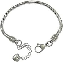 ICYROSE The Forever Bracelet Stainless Steel Starter Charm Bracelet for Adults & Kids Fits European Style Beads Comes with 2 Beads