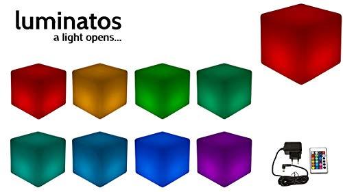 Luminatos 5, LED Cube/Hocker 40cm beleuchtet mit Farbwechsel Fernbedienung Sitzwürfel