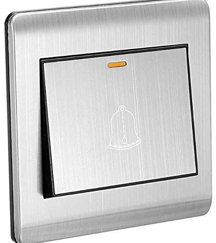 Tonalit Tonalit - Interruptor de pulsador de timbre para puerta (250 V, 16 A, 86 x 86 mm, acero inoxidable)
