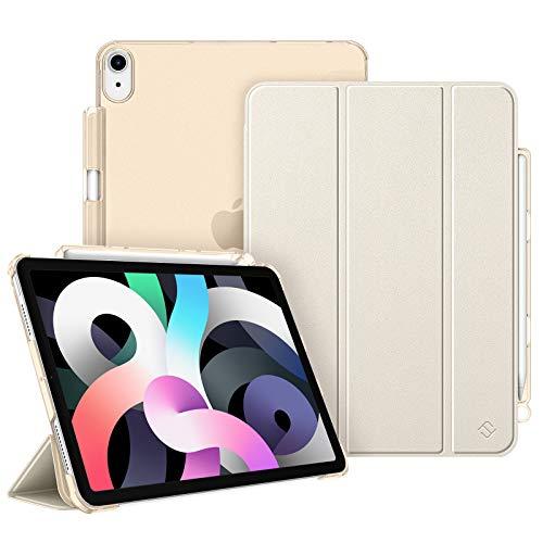 Fintie Hülle für iPad Air 4. Generation 10.9 2020 mit Stifthalter (Unterstützt 2.Gen Pencil, kabelloser Ladefunktion) - Superdünn Schutzhülle mit durchsichtiger Rückseite, Auto Sleep/Wake, Champagner