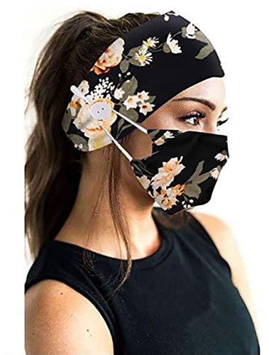 eBoutik - Bedruckte Stirnbänder und Gesichtsmaske mit Knopf für...