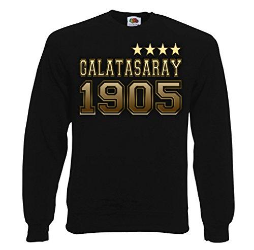 TRVPPY Herren Sweater Pullover Galatasaray Istanbul Sterne, Schwarz, XL