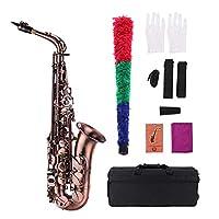 Muslady 高級Ebアルトサックス レッドブロンズベント Eフラットサックス 刻まれたパターン 木管楽器 キャリングケース グローブ クリーニングクロス ブラシ サックスストラップリード付き