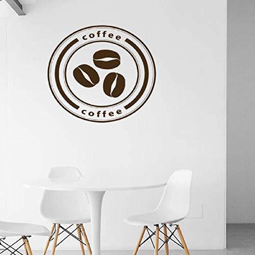 Kaffee Logo Wandtattoo Kaffeebohnen Café Küche Restaurant Innen Vinyl Wandaufkleber 42 * 46 cm