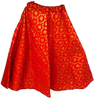 FEMEZONE Brocadesilk Ethnic Traditional Lehenga/Skirt for Party/Festival function,red