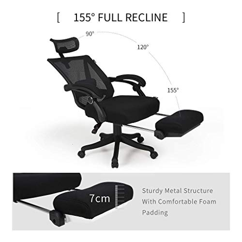 Hbada Reclining Office Desk Chair | Adjustable High Back Ergonomic Computer Mesh Recliner | Home Office Chairs with Footrest and Lumbar Support, Black