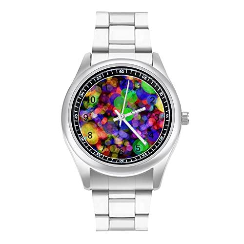 Resumen Puntos Círculo Fondo Simple Acero Banda Reloj Señoras Hombres Verano Mecánico Nuevo Diseño Esfera Grande Simple Moda