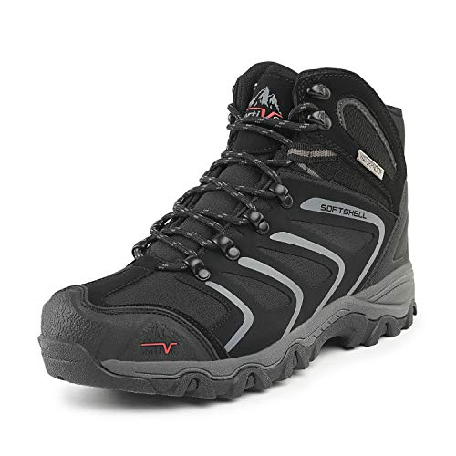 NORTIV 8 Men's 160448 Black Grey Ankle High Waterproof Hiking Boots Outdoor Lightweight Shoes Backpacking Trekking Trails Size 10.5 M US
