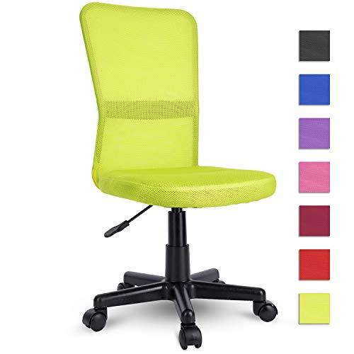 TRESKO® bureaustoel kantoorstoel draaistoel, met kunststof wielen, traploos in hoogte verstelbaar, gevoerde zitting, ergonomische vormgeving, SGS-geteste veer (lichtgroen)