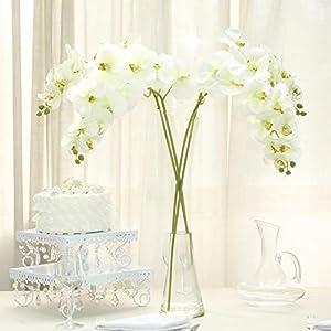 Efavormart 2PCS 40″ Tall Silk Orchid Stems Artificial Flower Stem Real Touch Flower