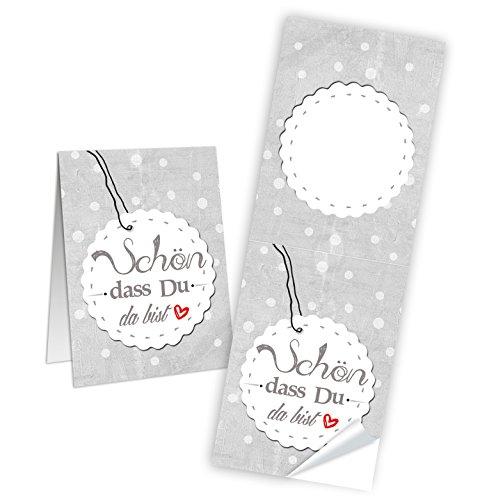 Logbuch-Verlag 25 Aufkleber SCHÖN DASS DU DA BIST weiß grau HERZ rot Banderole 5 x 14,5 cm selbstklebend Sticker Etikett Verpackung Tischkarte Hochzeit