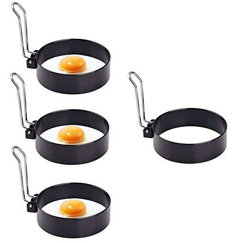 HSTC Egg Rings Non Stick Pancake Mold Ring Round Fried Egg Rings Perfect Flip Pancake Mould Ring Egg Poacher with Folding Handles for Frying and Poaching Eggs Crumpets (4 Pack)