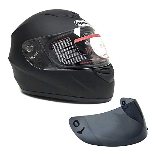 MMG 22 Motorcycle Full Face Helmet DOT, Including 2 Visors Comes with Clear Shield with Smoked Shield, Matte Black, Large