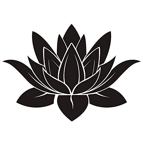 DNVEN 32 inches x 22 inches Black Lotus Flower Hindu Buddha Indian Lotus Yoga Mandala Tribal Wall Vinyl Sticker Decals Decor Art Bedroom Murals