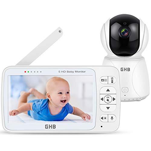GHB Vigilabebés Inalambrico con Pantalla 5 Pulgadas Bebé Monitor 350 ° Rotación Admite 4 Cámaras, Visión Nocturna Sensor de Temperatura, Charla Bidireccional, VOX, Despertador, 3020mAh