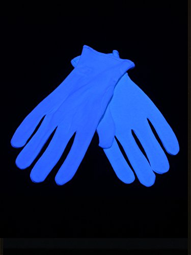 Paar Schwarzlicht Handschuhe für Damen Kurz Weißblau