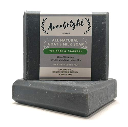 Activated Charcoal Soap Bar - Charcoal Cleansing Bar for Acne, Blemishes, Blackheads, Psoriasis, Oily Skin. Charcoal Facial Detox Tea Tree Oil Soap Bar with Goat Milk. Handmade in USA. (2 x 5oz Bars)