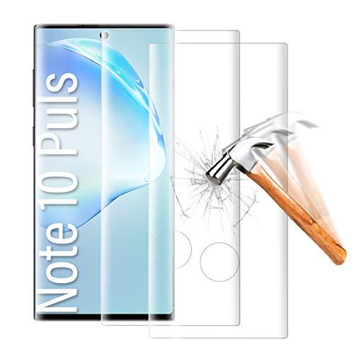 Shalwinn - Pellicola protettiva in vetro temperato per Samsung Galaxy Note 10 Plus, 2 pezzi, copertura completa 3D, senza bolle, alta definizione, alta sensibilità