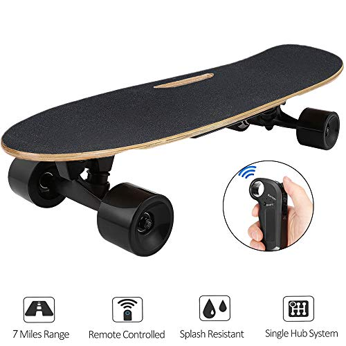 Aceshin Electric Skateboard with Remote Small for Kids Teens, 350W Motor, 12 MPH Top Speed (E-Black)