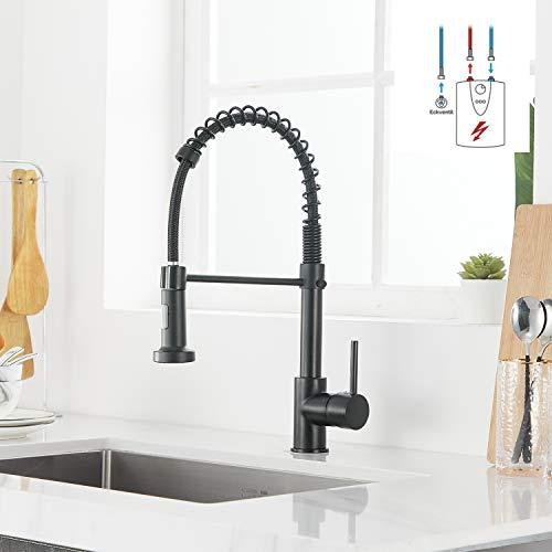 Casavilla Schwarz Niederdruck Armatur Für Küche 360° Drehbar Wasserhahn Küche Küchenarmatur Mit Brause Mischbatterie Küche Armatur Spiralfederarmatur