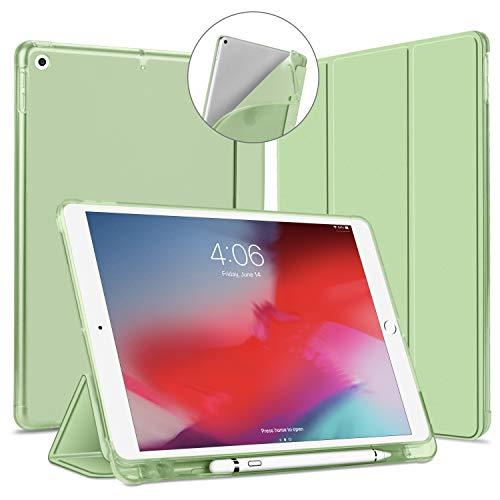 iPad 10.2 ケース 第7世代 第8世代 ソフトカバー 半透明 Apple Pencil収納可能 オートスリープ機能 PUレザーカバー 三つ折りスタンド スタンド機能 ペン収納 衝撃吸収 全面保護 指紋防止 2019と2020年発売のiPad 10.
