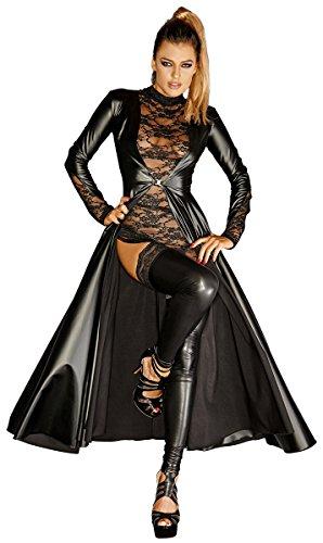 Noir Handmade Clubwear lange fetisch mantel zwart maat 40 - L