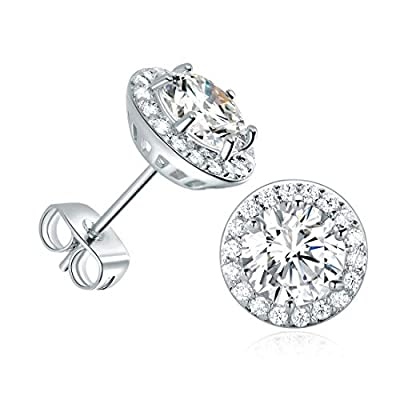 DwearBeauty White Gold Plated Cubic Zirconia Stud Earrings