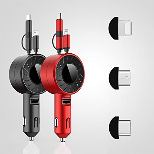 ZHive Upgrade 4 in 1 Retractable Car Charger,with Dual USB Cables,3-in-1 Multiple Fast Car Charger Adapter, Suitable for All Models Retractable Car Charger (Black & Red)