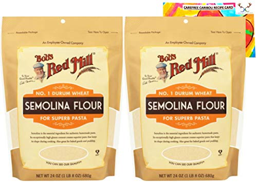 Semolina Flour Bundle. Includes Two (2) 24oz Packages of Bob's Red Mill Semolina Flour and a Semolina Flour Recipe Card from Carefree Caribou!