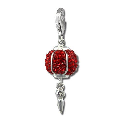 SilberDream Glitzer Charm 3D Chinesischer Lampion rot Zirkonia Kristalle Anhänger 925 Silber für Bettelarmbänder Kette Ohrring GSC568R
