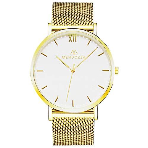Mendozza Herrenuhr White Moon Edelstahl Mesh Armband Schweizer Uhrwerk Saphirglas Weiß 40 mm Gold/Gold (MW-RG0200H-GMG)
