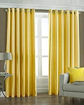 Home Ready 2 Piece Eyelet Polyester Long Door Curtain Set-Size-7 feet Long, Yellow