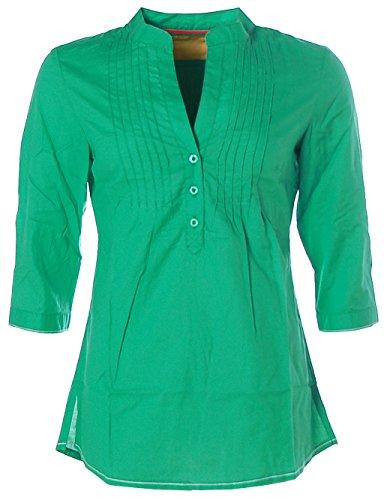 Kitaro Damen 3/4 Arm Tunica Bluse Rundhals V-Ausschnitt Biesen 38 grün