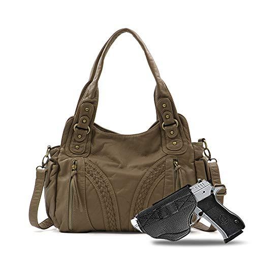 Montana West Leather Buckle Tote Bag Concealed Carry Handbag For Women Western Shoulder Bag (Y #G019 Kaki)