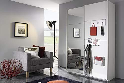 Rauch Möbel Steinheim Schwebetürenschrank Weiß mit Spiegel inkl. Garderoben-Accessoires, 2-türig, Zubehörpaket Classic 7 Einlegeböden, 1 ausziehbare Kleiderstange BxHxT 137x197x59 cm