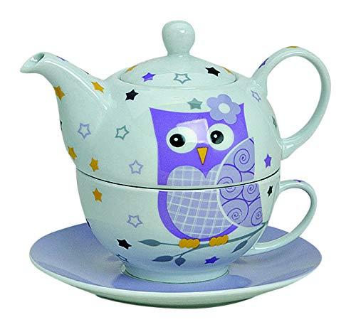 Tea for One Set mit lila Eule (Kanne & Tasse & Untertasse)