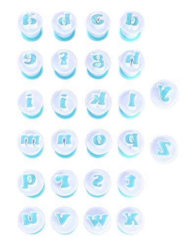 Nuoda Alphabet Letters Molds, 26pcs Plunger Cutters, Fondant Cake Biscuit Mold,Cake Decorating Tools, Cookie Stamp Impress,Embosser Cutter, DIY Sugar Craft Cookies Plunger-Plastic (Lowercase Letters)