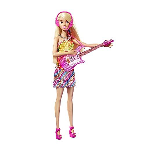 Barbie Malibú Muñeca rubia con guitarra de juguete y accesorios de música, regalo para niñas y niños +3 años (Mattel GYJ23)