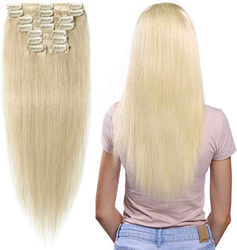Extension Clip Capelli Veri 8 Fasce Remy Human Hair Extensions Lisci Lunga 8 pollici 20cm Pesa 45grammi, 60 Biondo Platino