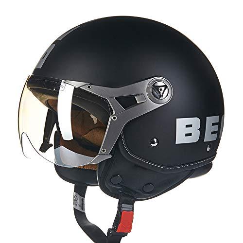 BEON Motorrad Halber Helm -100B MäNner Und Frauen Vier Jahreszeiten Jet Helm ABS BelüFtung Anti-Fog-Linse Motorradhelm FüR Harley,BlackA-L(57-58cm)