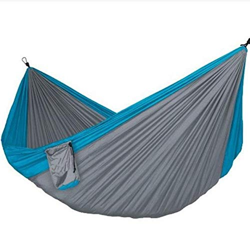ZYR Assorted Color Hanging Sleeping Bed Parachute Nylon Fabric Outdoor Camping Hammocks Double Person Portable Hammock,Blue Gray