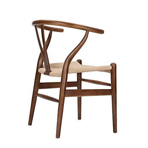 Wishbone Chair Y Chair Solid Wood Dining Chairs Rattan Armchair Natural (Ash Wood - Walnut)