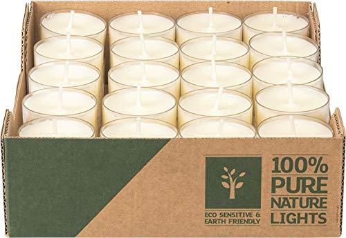 40 Raps-Teelichter in transparenter Hülle, 7 Stunden Brenndauer inkl Dittmeier Feuerzeug, Ökö Teelichter, Eco Teelichter, nachhaltige Teelichter