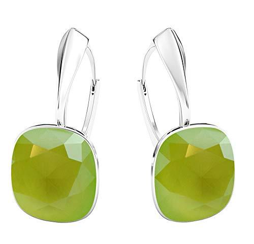 Crystals & Stones NEUHEIT - SQUARE - Tolle Ohrringe - FARBE VARIANTEN !! - Silber 925 Schön Damen Ohrringe mit Kristallen von Swarovski Elements - Wunderbare Ohrringe !! (Lime)