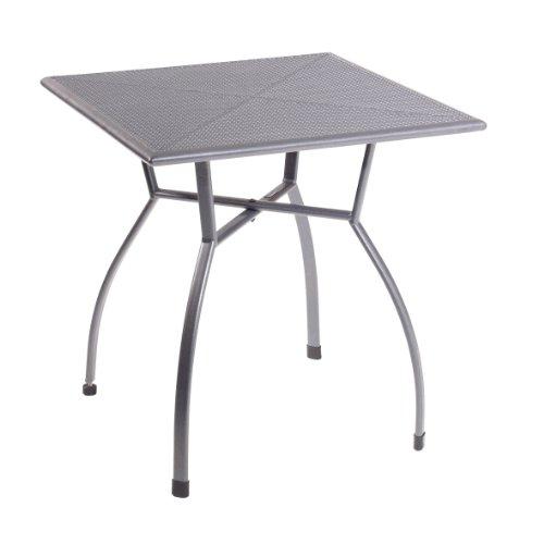 greemotion Gartentisch Toulouse eckig, quadratischer Tisch aus kunststoffummanteltem Stahl, Esstisch mit Niveauregulierung, eisengrau, 70 x 70 x 72 cm, 70 cm l x 70 cm b x 72 cm h