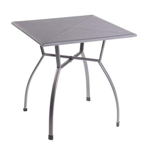 greemotion Gartentisch Toulouse eckig, quadratischer Tisch aus kunststoffummanteltem Stahl, Esstisch mit Niveauregulierung, eisengrau, 70 x 70 x 72 cm